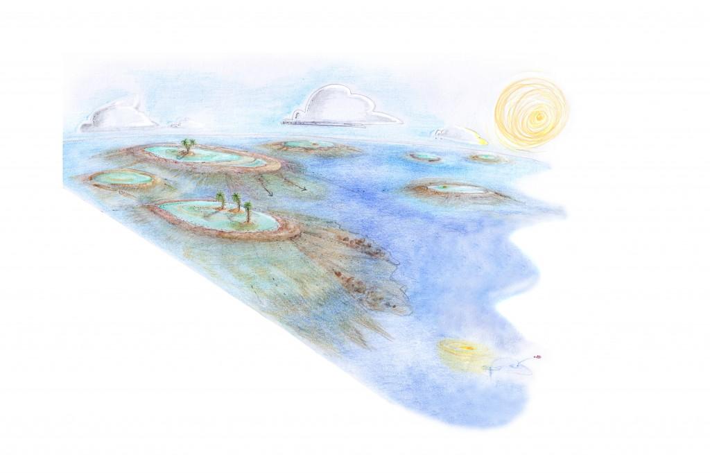riscostruzione dell'arcipelago corallino (Carnico) (illustrazione Elena Manfrè)